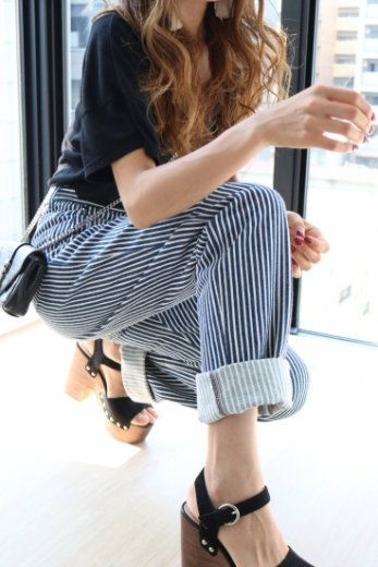 【vintage】US 80's high waist stripe denim pants / navy×white