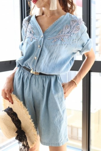 【vintage】US 80's front pearl button bijou denim rompers
