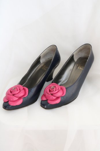 【vintage】Christian Dior / flower corsage pumps / navy