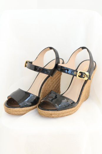 【vintage】FENDI / enamel ankle strap wedge sole sandal / black