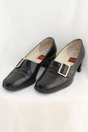 【vintage】KENZO / square toe leather pumps / black