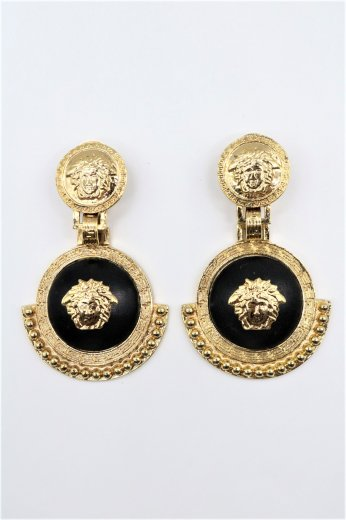 【vintage】VERSACE / medusa motif  swing gold earrings