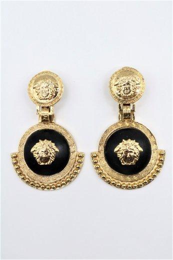 【vintage】VERSACE / medusa motif  swing gold earrings
