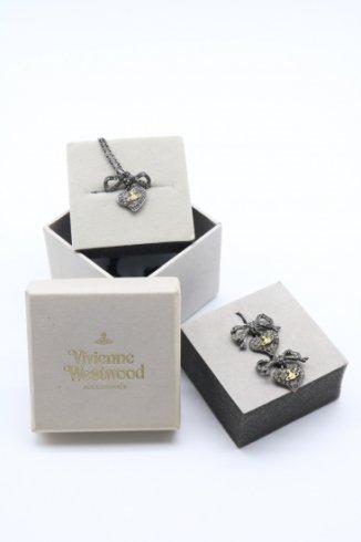【vintage】Vivienne Westwood / heart & ribbon motif line stone 2pcs set