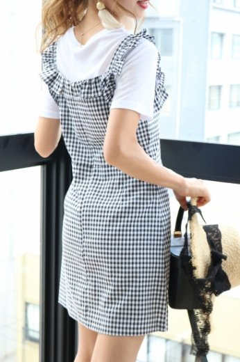 frill piping block check pattern sleeveless dress / black