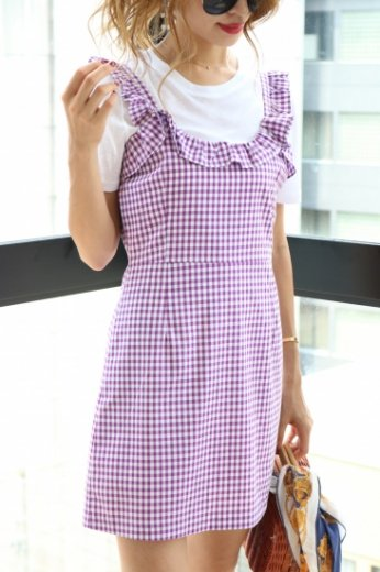 frill piping block check pattern sleeveless dress / purple