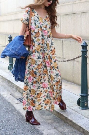 【vintage】shell botao rose pattern flare dress