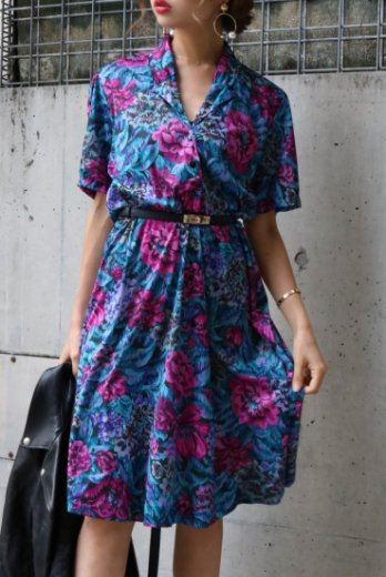 【vintage】notched shawl collar flower pattern flare dress