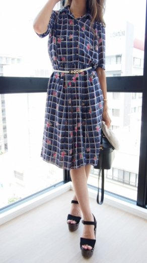 【vintage】rose&check pattern flare dress