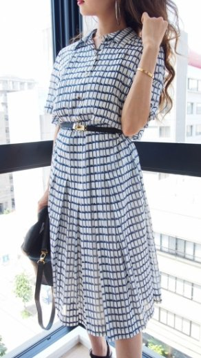 【vintage】design check pattern cotton pleats dress