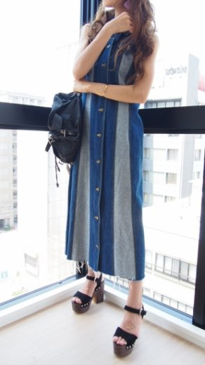 【vintage】cut off design switching denim sleeveless long dress