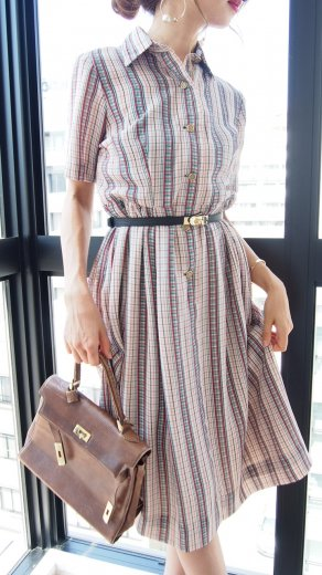 【vintage】multi color check pattern flare dress