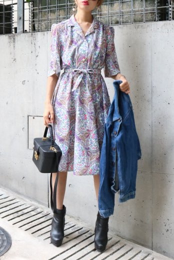 【vintage】notched lapel collar flower paisley pattern flare dress