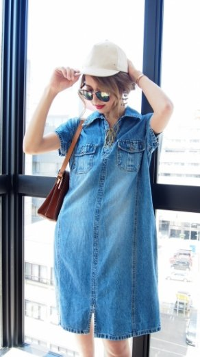 【vintage】short sleeve front lace up denim dress