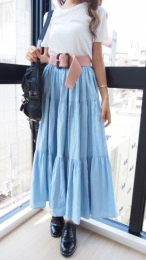 【vintage】 cotton volume flare tiered skirt