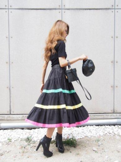 【vintage】multi color line volume tiered flare skirt