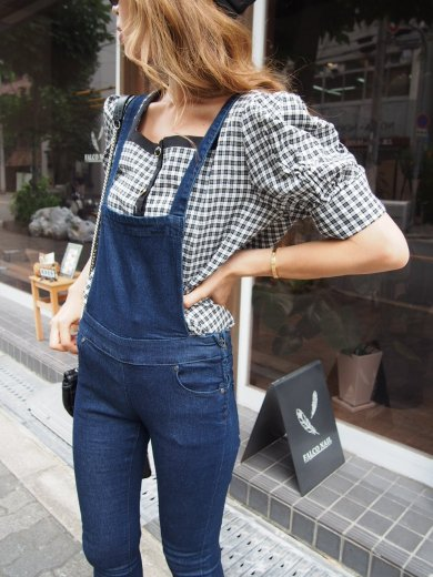 bijou botan square neck check pattern blouse