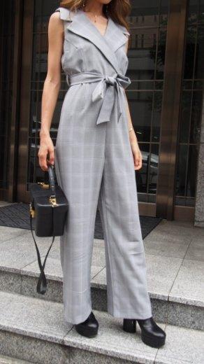 montgomery collar glen check pattern sleeveless all in one