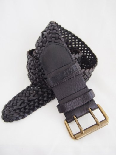 【vintage】Ralph Lauren / genuine leather mesh belt / dark brown