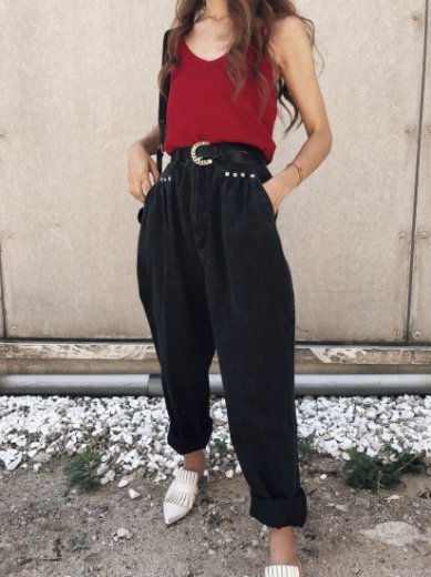 【vintage】US 80's snap button design high waist wide black denim pants