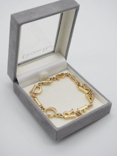 【vintage】Christian Dior /  DIOR PARIS logo charm gold bracelet