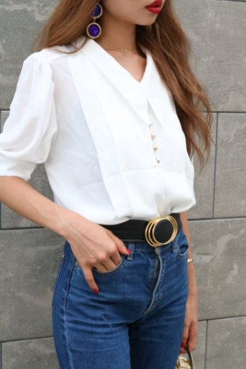 barrymore collar front gold button chiffon blouse / white