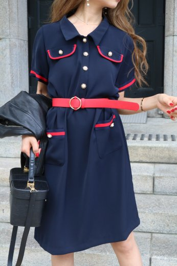 bicolor piping retro like dress (belt set) / navy