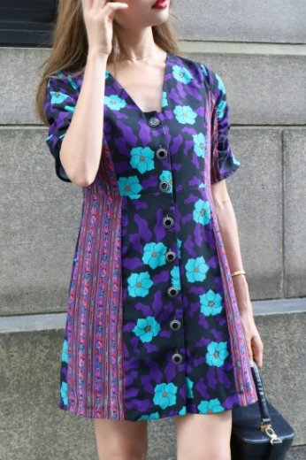 docking flower pattern flare dress