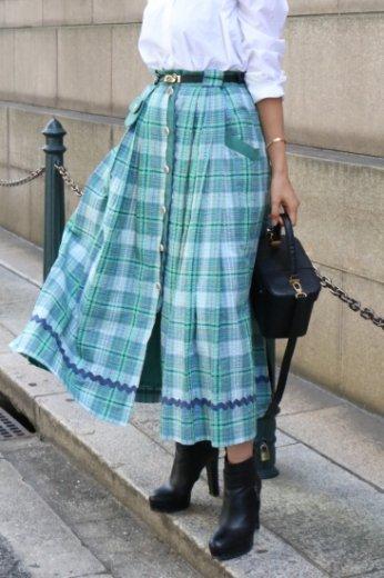 【vintage】scallop piping tartan check volume skirt