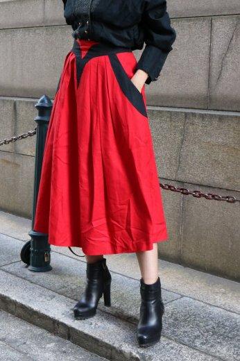 【vintage】bicolor front design yoke flare skirt