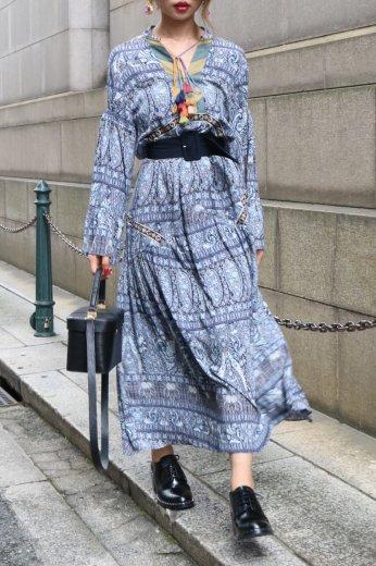 front tassel ribbon bohemian long flare dress / blue