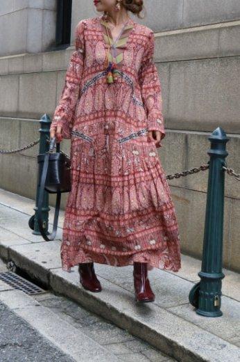 front tassel ribbon bohemian long flare dress / red