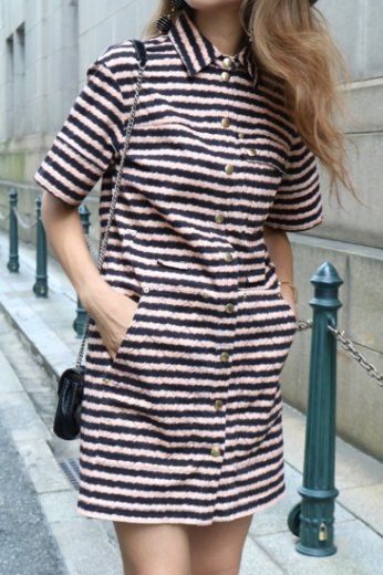 【vintage】KENZO / front gold button design stripe shirt dress / black×orange
