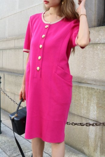 【vintage】Yves Saint Laurent / bicolor round neck gold line design knit dress/ shocking pink×gold