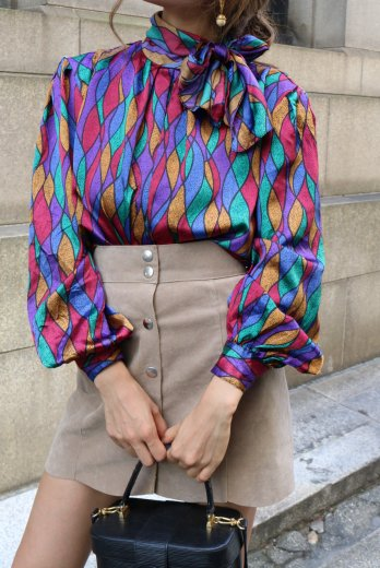【vintage】scarf collar stained glass motif pattern blouse