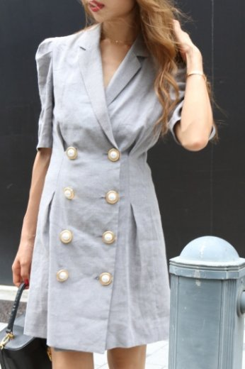 notched lapel collar big pearl button check pattern dress / black