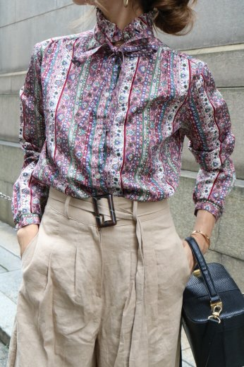 【vintage】stand frill collar front ribbon flower pattern blouse