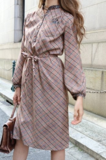 【vintage】paisley stand collar design check pattern dress