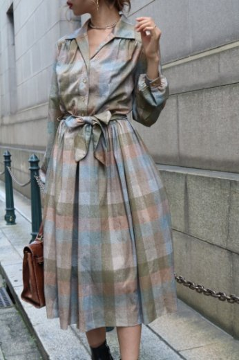 【vintage】front button check pattern flare dress