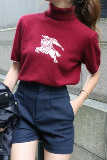 【vintage】BURBERRY / horseback knight mark turtle neck knit tops / bordeaux