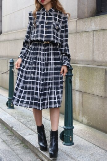 【vintage】retro flower motif button check pattern pleats dress