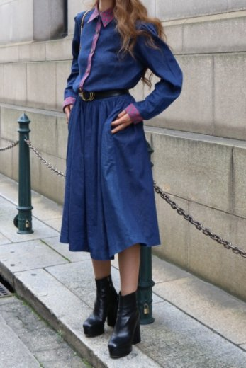 【vintage】standard collar front retro gold button check yoke denim flare dress