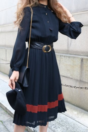 【vintage】stand collar see-through sleeve pleats dress