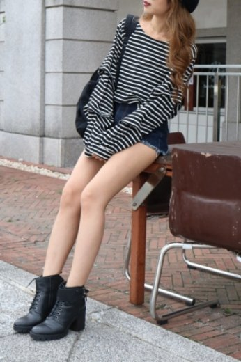 tiered wide sleeve stripe pattern tops / black