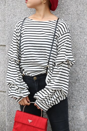 tiered wide sleeve stripe pattern tops / white
