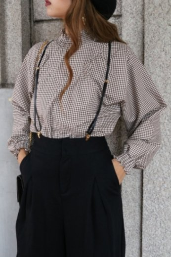 stand frill gather collar slit neck check blouse / brown