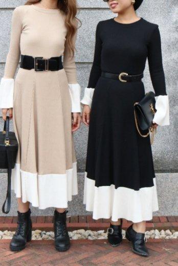 bicolor umbrella sleeve rib flare dress / beige