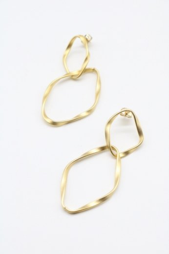 gold double hoop pierced earrings