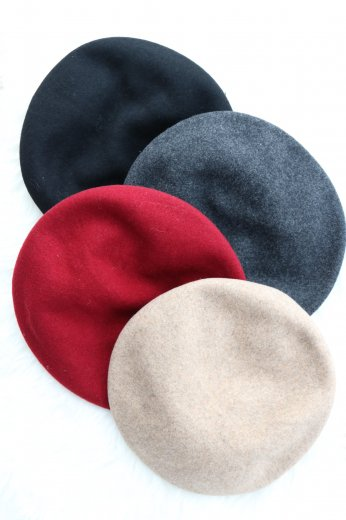 wool beret / black gray beige bordeaux