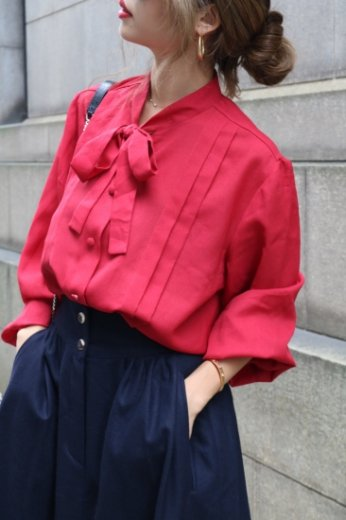 【vintage】stand collar front ribbon retro blouse
